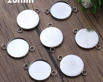 10pcs, 16mm Hypoallergenic Stainless Steel Cabochon Connector Settings, 16 mm Bezel, Cabochons Jewelry, Pendant Charm Blanks Supply