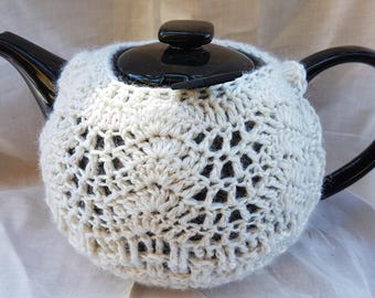 Hand crocheted, cream, pure wool tea cosy.  6 Cup family teapot is free!