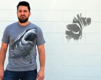 SHARK Tee - Men's Illustration Tee - Animal Art - Slim Fit S/S Crew Neck - David Colman Original