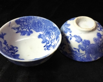 A cute pair of blue and white transferware Chinese cups