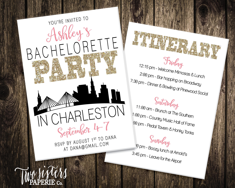 Charleston Bachelorette Party Invitation & Itinerary