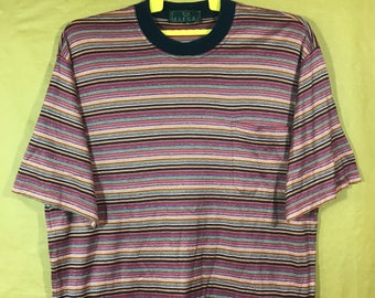 Vintage SIRONI Brand Made In Italy Rainbow Stripes One Side Pocket T-shirt Adult Large Size