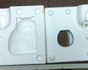 Vintage Estate Retired Fat Cat Figure Porcelain Ceramic Mold 208 Echo Molds C4