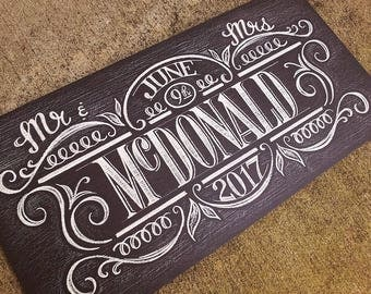 Mr & Mrs  Custom Chalkboard Art Wedding Sign, hand lettered, UNFRAMED 12 x 24