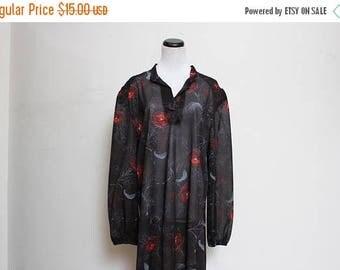 25% OFF VTG 70s Floral Sheer Hippie Boho Poet Sleeve Dress L