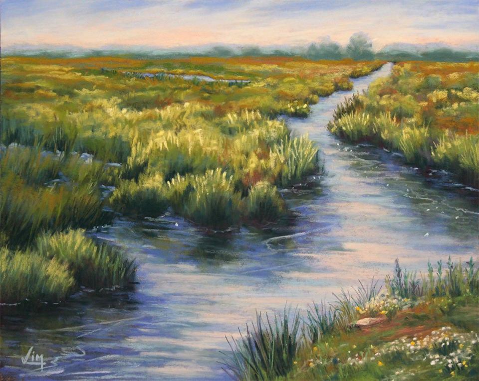 Peinture au pastel sec marais mar cage paysage de bri re - Peinture au pastel sec ...