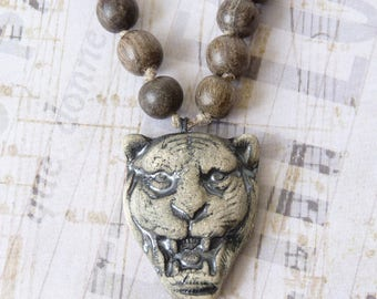 Tiger Head Pendant Necklace for Men, Panther Pendant, Wood Beaded Necklace, Boho Bohemian Rustic Tribal Ethnic African, Handmade, Ceramic