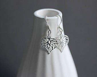 Heart Leaf  Silver Heart Earrings, Leaf Heart Earrings, Leaf Jewelry, Dangle earrings, Minimalist Jewelry, Gift for her