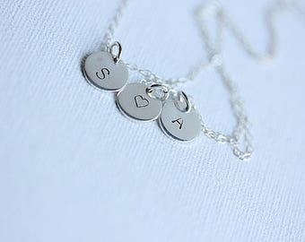 Small Disc Initial Necklace, Alphabet Necklace, Initial Disc in Sterling Silver, Personalized Jewelry, Monogram Disc, Gift for Her