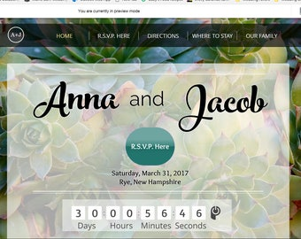 Wedding Website with R.S.V.P. Online - custom web page, MOBILE enabled, wedding countdown online