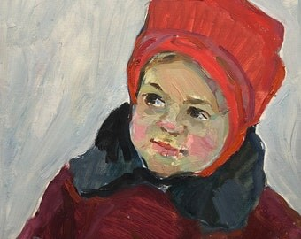 VINTAGE CHILD PORTRAIT Original Oil Painting by Usikova E, 1965, Portrait of a Girl, Socialist Realism, Soviet Art, One of a Kind