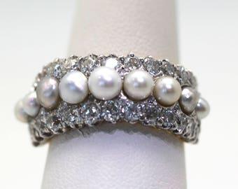 Antique Victorian Edwardian Pearl & Diamond Split Shank Ring 18K Yellow Gold 6.5