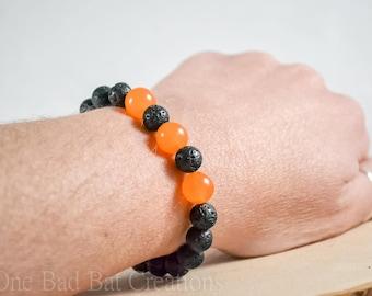 Black and Orange, Beaded bracelet, Stretchy bracelet, Halloween bracelet,