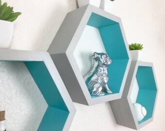 Individual Hexagon Shelf, 2 Tone Shelf, Honeycomb Shelf, Painted Geometric Shelf, Nursery Decor, Display Shelf, Wall Shelf, Dorm Decor