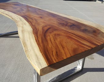 "118""L Live Edge, Solid Slab Acacia Wood Dining Table 054"