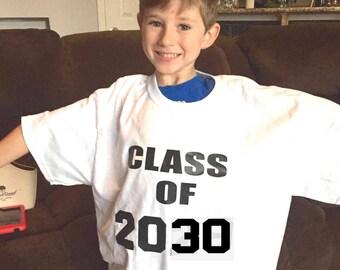 Class of 2030 shirt, kindergarten graduation T shirt, first day of school photo prop, preschool graduation gift, high school graduation year