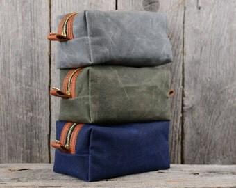 Leather and Waxed Canvas Travel Toiletry Bag Shaving Dopp Kit Gift for Man Groomsmen Groom Wedding Boyfriend Husband