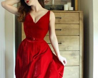 Red Velvet Cupcake 1950's Vintage Cocktail Dress