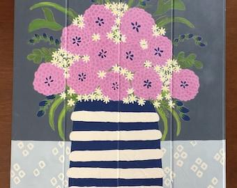 Purple Flower Painting, Flower Vase Art, Flower Vase Painting, Flower Vase Decor, Painting of Flowers, Painting, Painting on Wood, Wood Sign