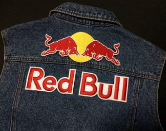 3 Pcs (XL Size)  Red Bull Logo Embroidered iron on Patch, sewing patch diy, Biker Patch, Racing Patch, Jacket Patch, high Quality patch