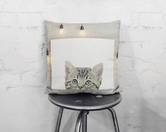 Peekaboo Cat Square Pillow