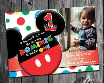 Mickey Mouse Club House Inspired Birthday party Digital Printable Invitation