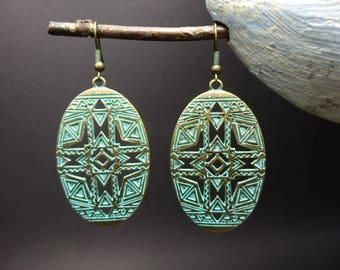 Native American ethnic earrings in oxidized metal