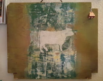 Rustic Cow on wood