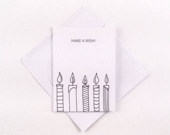 Candle Birthday Card / Make A Wish / Cute Birthday Card / Simple Birthday Card / Birthday Card / Cute Candle Card