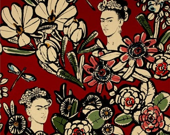 Cactus Flower Red Frida Kahlo Folklorico CollectionBy Alexander Henry Fabrics