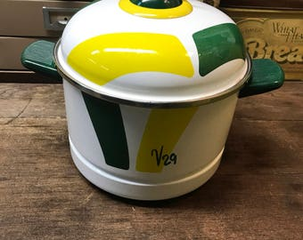 Vintage Steamer Pot Green Yellow Retro
