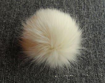 Size L, (Ecru) faux fur pom pom 5.5 inches/14 cm