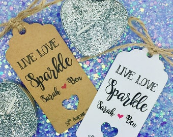 Candle Favour Gift Tags, Live Love, Personalised Wedding Gift, Tea Lights, Wedding Gift, Table Setting.