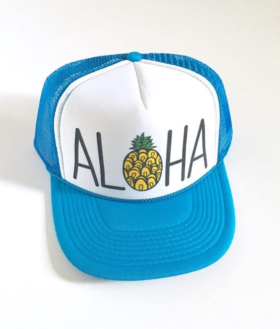 Aloha Trucker Hat Blue and White| Aloha Hat| Hawaii Hat| Pineapple Hat| Pineapple| Beach Hat| Blue Hat