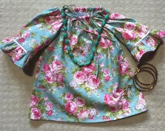 Vintage Style Teal Seaside Dress - Long Sleeves