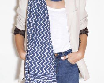Big cotton scarf with handmade print, boho scarf, scarf for women, summer scarf, light scarf, scarf unique, unusual scarf, blue scarf