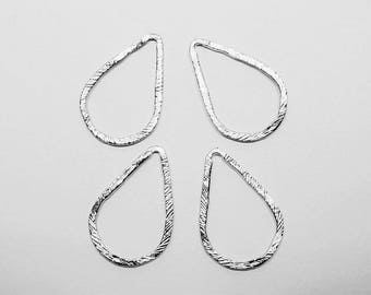 P0651-3/Anti-Tarnished Matte Rhodium Plating Over Pewter/Angled Teardrop Pendant Connector Medium/18x27mm/4pcs