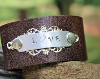 "Upcycled Leather ""Love"" Bracelet, leather cuff, hand stamped bracelet, metal rivets, metal flourish"