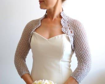 Bridal bolero shrug, silver gray bolero, glitter bolero, wedding cardigan, short jacket, lacy shrug, 3/4 sleeves, gray shrug, fast shipping