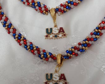 Red, white, blue and gold spiral twisted bead Kumihimo choker necklace and bracelet