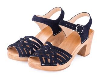 Navy blue clogs | Sandals clogs | Wooden clogs | Swedish clogs | shoes | Kulikstyle | Women shoes | wooden clogs | Swedish clogs | Navy Blue