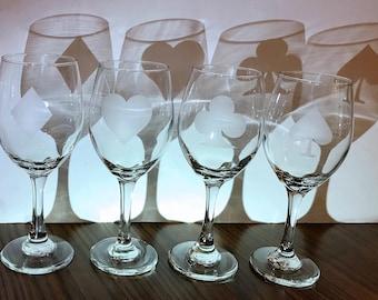 Poker Themed Wine Glass Set