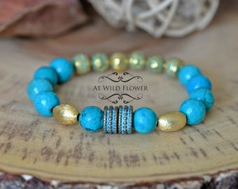 Beaded Bracelet, Beaded Jewelry, Turquoise bracelet, Gift for Her, Gift Idea, Gemstone Bracelet, Statement Jewelry, Boho chic, Bohemian