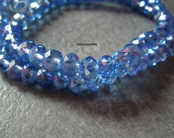 PF616 set of 20 effect barbeau Blue Crystal 6mm faceted glass beads