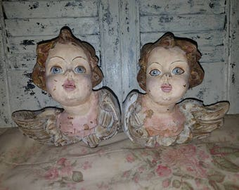 Vintage hand-carved angels.