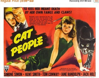 Back to School Sale: CAT PEOPLE Movie Poster 1942 Horror Mystery Classic
