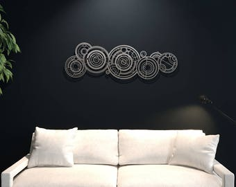 XL Doctor Who Gallifreyan Large Metal Wall Art, Science Wall Decor, Modern Metal Wall Sculpture, Silver Metal Wall Art, Nerdy, Loft Wall Art