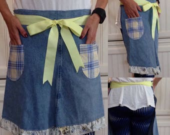 SALE Denim half apron laura Ashley ruffle hem & pocket yellow grosgrain ribbon light blue apron repurposed denim apron upcycled denim apron