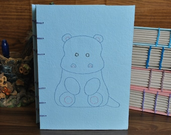 A5 Handmade Paper Journal Notebook Sketchbook - Hippo