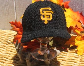 San Francisco Giants baseball hat // SF Giants baby hat // Crochet Giants baby hat// Giants baseball baby hat